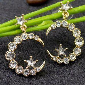 Moon & Star Rhinestone Post Earrings NWT